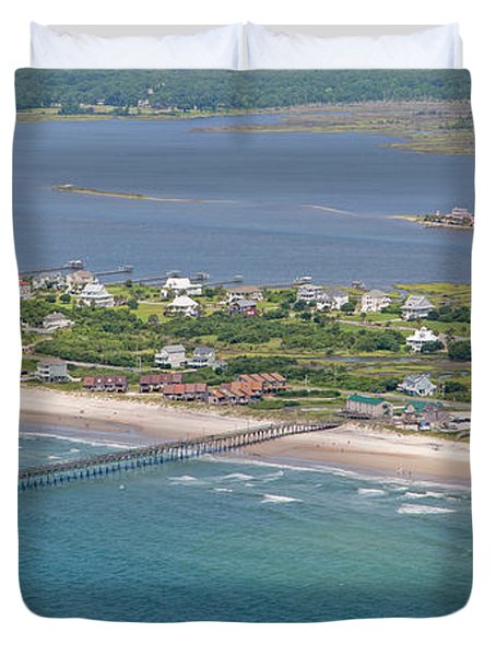 Seaview Fishing Pier Topsail Island Duvet Cover