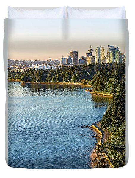 Seawall Along Stanley Park In Vancouver Bc Duvet Cover by David Gn