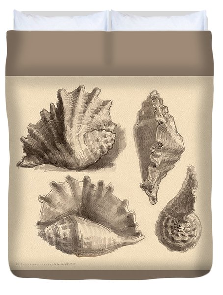 Duvet Cover featuring the painting Seba's Spider Conch by Judith Kunzle