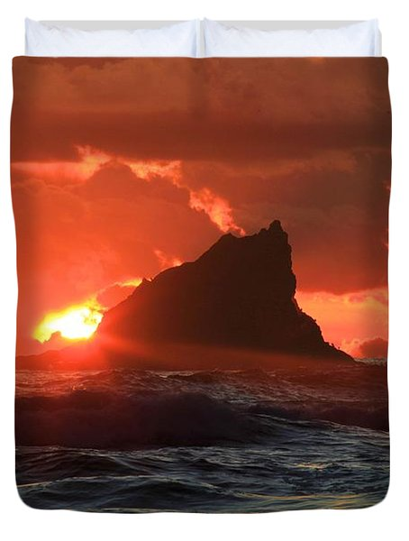 Second Beach Shark Duvet Cover by Adam Jewell