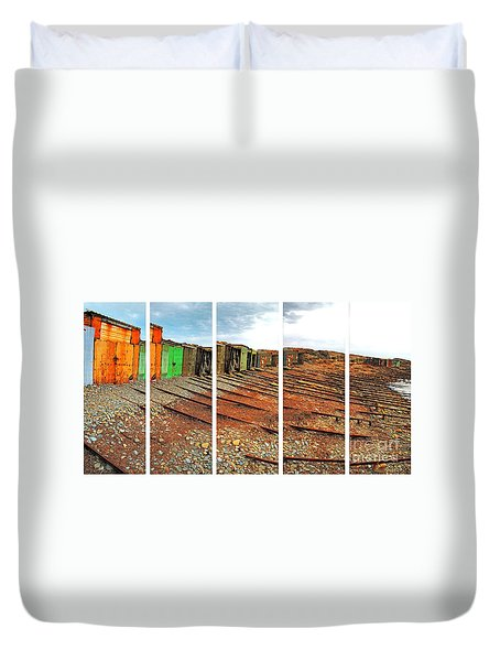 Duvet Cover featuring the photograph Second Valley Boat Sheds by Stephen Mitchell