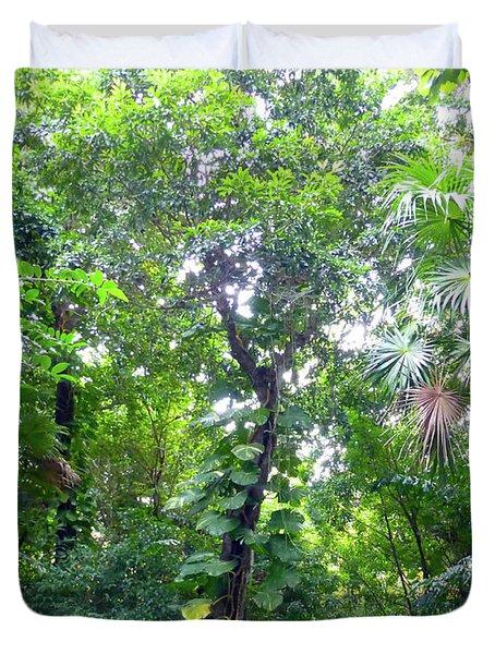 Duvet Cover featuring the photograph Secret Bridge In The Tropical Garden by Francesca Mackenney
