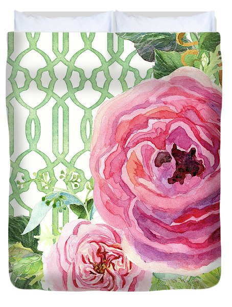Duvet Cover featuring the painting Secret Garden 3 - Pink English Roses With Woodsy Fern, Wild Berries, Hops And Trellis by Audrey Jeanne Roberts