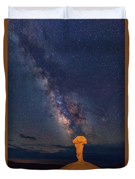Secret Spire And The Milky Way Vertical Duvet Cover