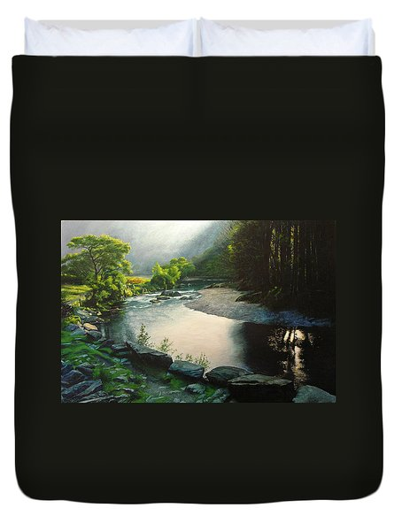 Duvet Cover featuring the painting Secret Valley by Harry Robertson