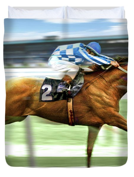 Secretariat On The Back Stretch At The Belmont Stakes Duvet Cover