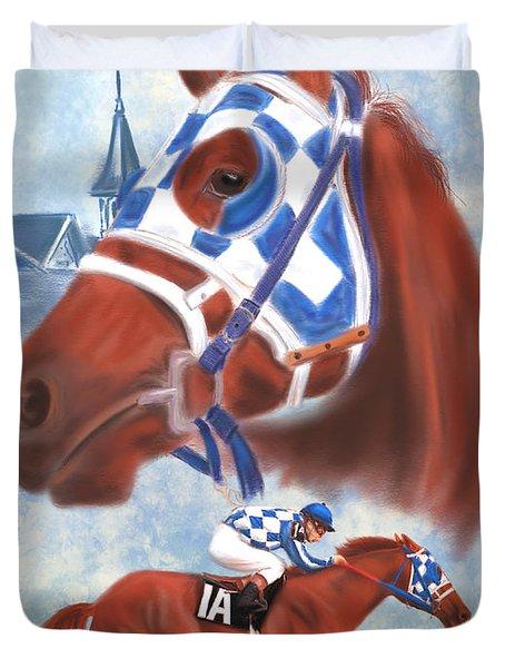 Secretariat Racehorse Portrait Duvet Cover