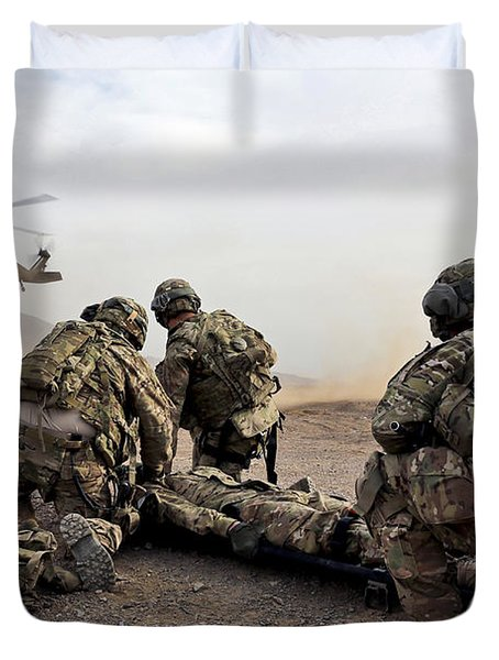 Security Force Team Members Wait Duvet Cover by Stocktrek Images