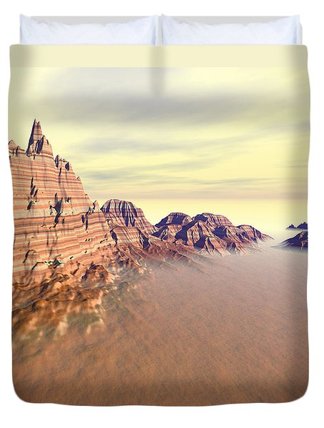Sedimentary Mountain Range Duvet Cover
