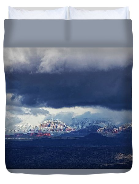 Duvet Cover featuring the photograph Sedona Area Third Winter Storm by Ron Chilston