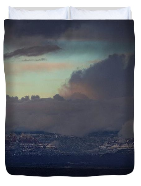 Sedona At Sunset With Red Rock Snow Duvet Cover