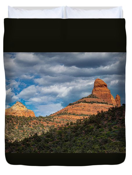 Duvet Cover featuring the photograph Sedona Cloudy Day by Ross Henton