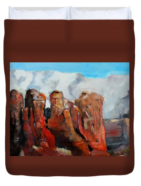 Sedona Coffee Pot Rock Painting Duvet Cover by Michele Carter