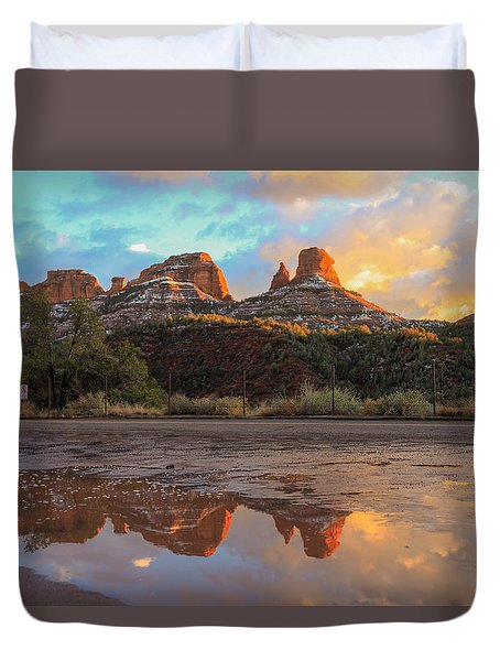 Duvet Cover featuring the photograph Sedona Reflections by Robert Aycock