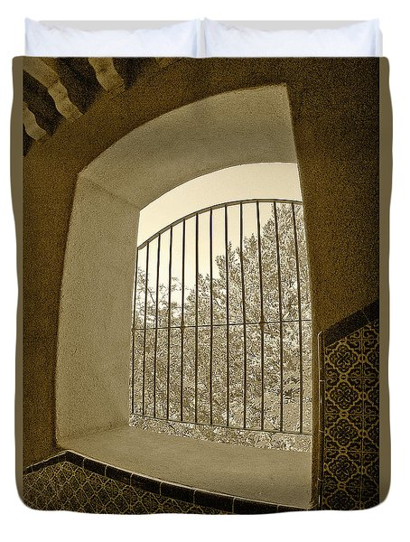 Duvet Cover featuring the photograph Sedona Series - Through The Window by Ben and Raisa Gertsberg
