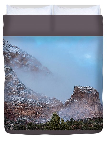 Duvet Cover featuring the photograph Sedona Winter by Sandra Bronstein