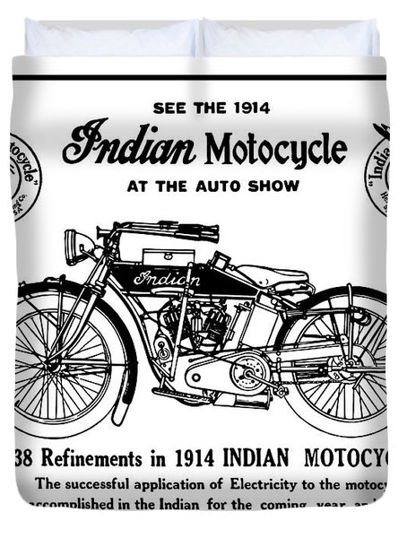 Duvet Cover featuring the mixed media See New 1914 Indian Motocycle At The Auto Show by Daniel Hagerman