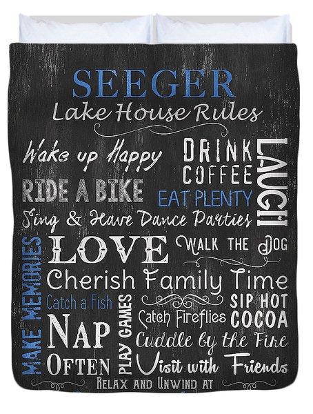 Seeger Lake House Rules Duvet Cover