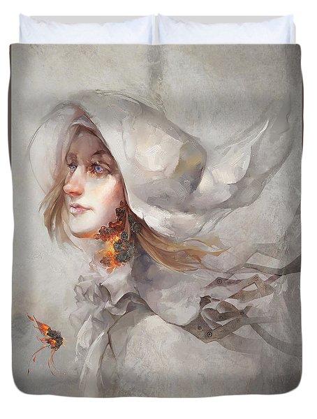 Duvet Cover featuring the digital art Seek V1 by Te Hu