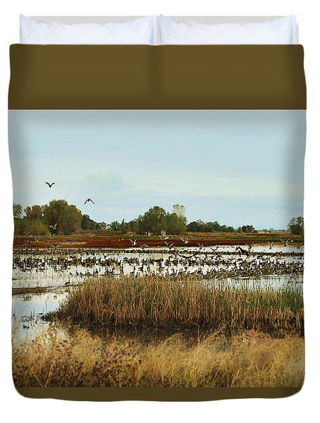 Duvet Cover featuring the photograph Seeking Refuge by Pamela Patch