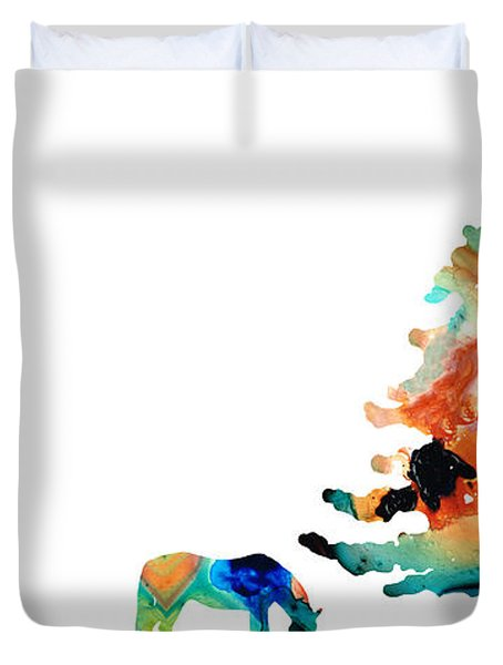 Seeking Shelter - Colorful Horse Art Painting Duvet Cover by Sharon Cummings