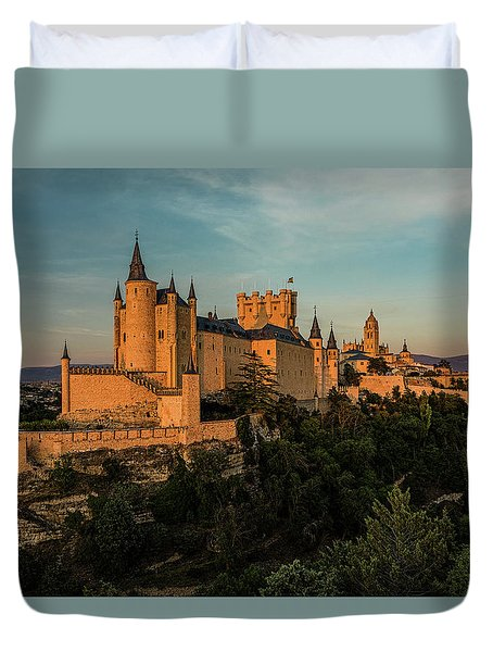 Segovia Alcazar And Cathedral Golden Hour Duvet Cover