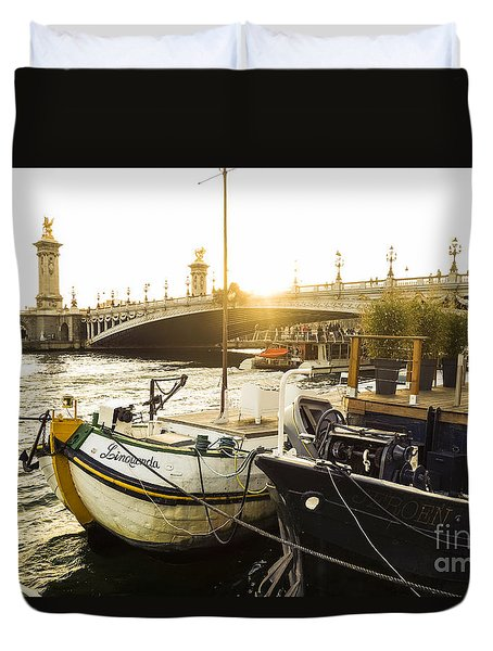 Seine River With Barges And Boats, Pont De Alexandre Bridge Behind, Paris France. Duvet Cover