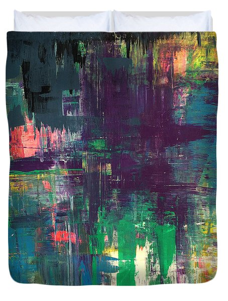 Seize The Day 48x48 Print Abstract Painting Modern Art Original Duvet Cover