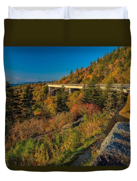 Seize The Day At Linn Cove Viaduct Autumn Duvet Cover