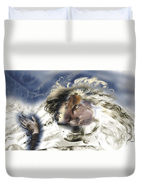 Duvet Cover featuring the painting Sekhmet by Ragen Mendenhall