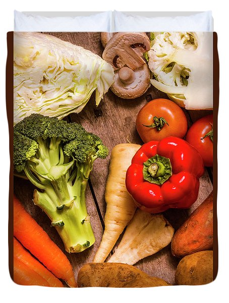 Selection Of Fresh Vegetables On A Rustic Table Duvet Cover