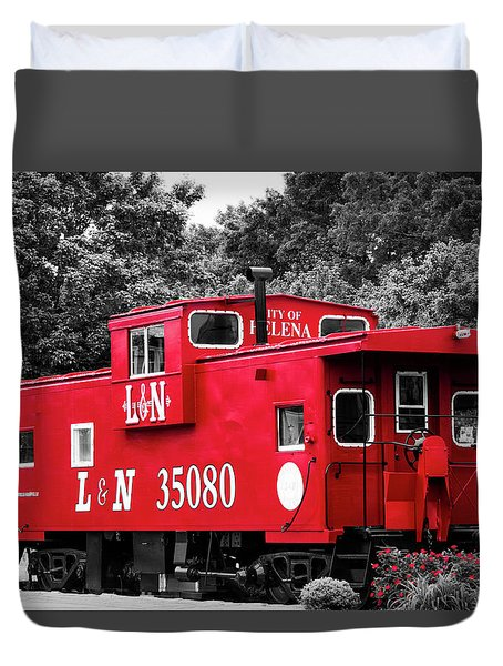 Duvet Cover featuring the photograph Selective Color Red Caboose by Parker Cunningham