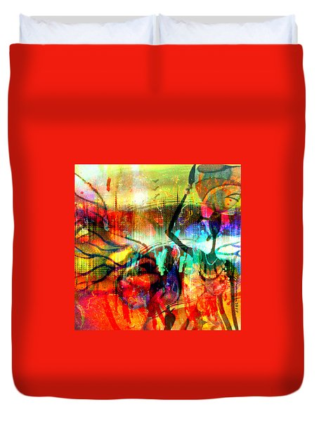 Duvet Cover featuring the mixed media Self Employed by Fania Simon