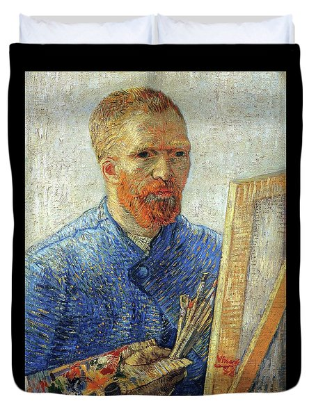 Duvet Cover featuring the painting Self Portrait As An Artist by Van Gogh
