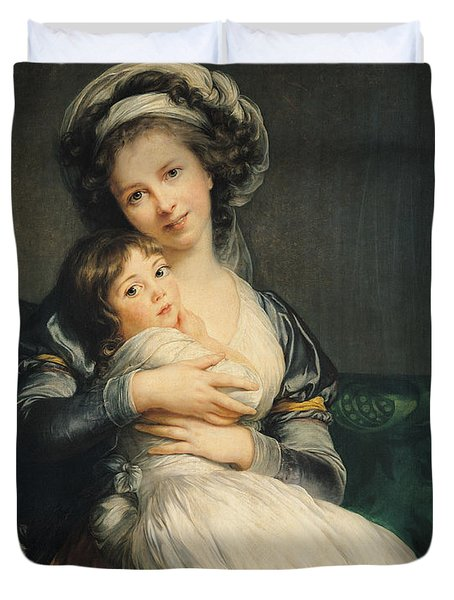 Self Portrait In A Turban With Her Child Duvet Cover by Elisabeth Louise Vigee Lebrun