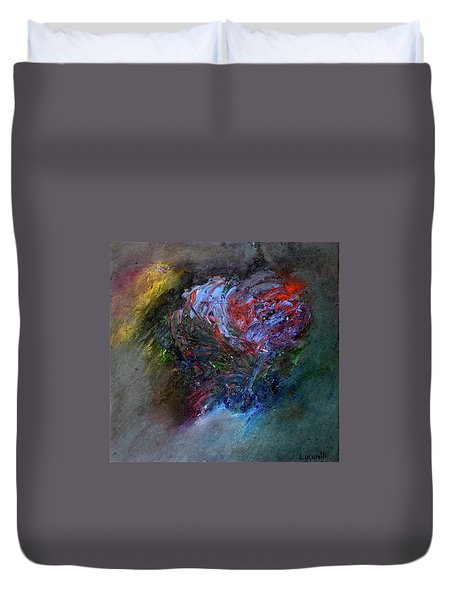 Duvet Cover featuring the painting Self  Portrait  by Michael Lucarelli