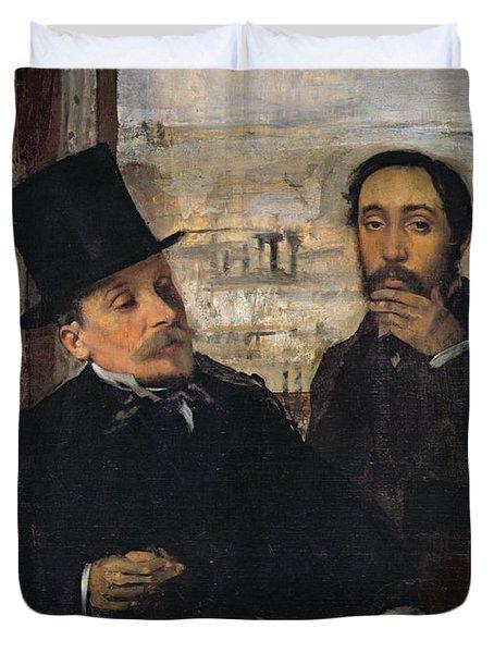 Self Portrait With Evariste De Valernes Duvet Cover by Edgar Degas
