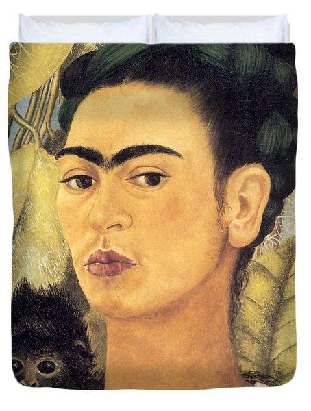 Self Portrait With Monkey  Duvet Cover