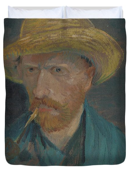 Self-portrait With Straw Hat And Pipe Duvet Cover
