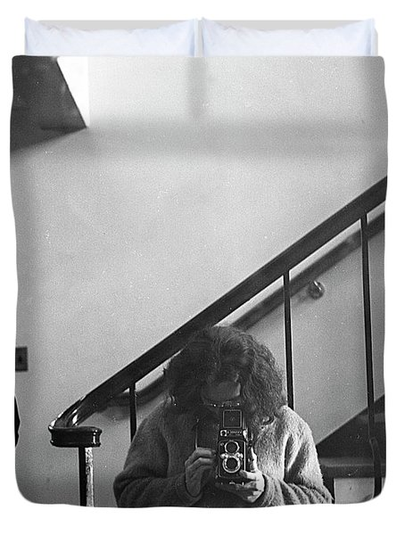 Self-portrait, With Woman, In Mirror, Cropped, 1972 Duvet Cover