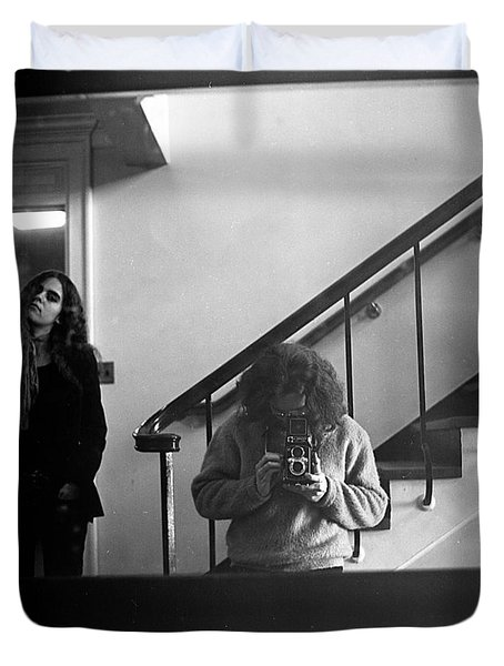 Self-portrait, With Woman, In Mirror, Full Frame, 1972 Duvet Cover
