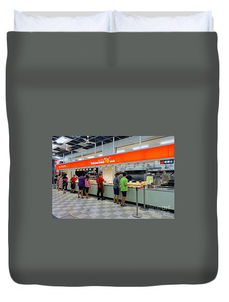 Duvet Cover featuring the photograph Self-service Restaurant On A Sidewalk In Kaohsiung City by Yali Shi