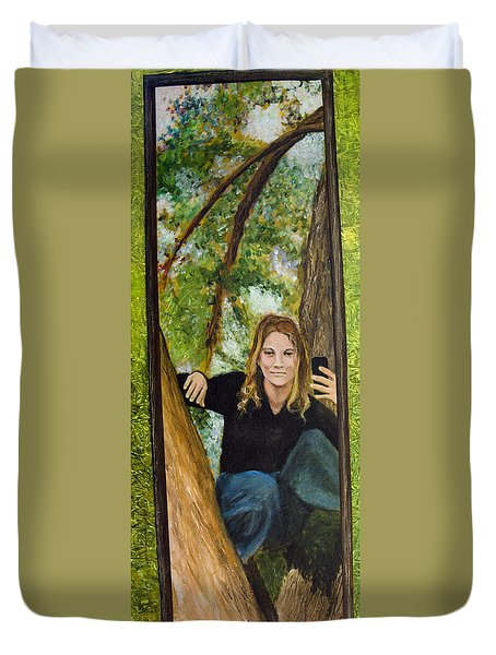 Selfie Portrait Of Rachel Fields Duvet Cover
