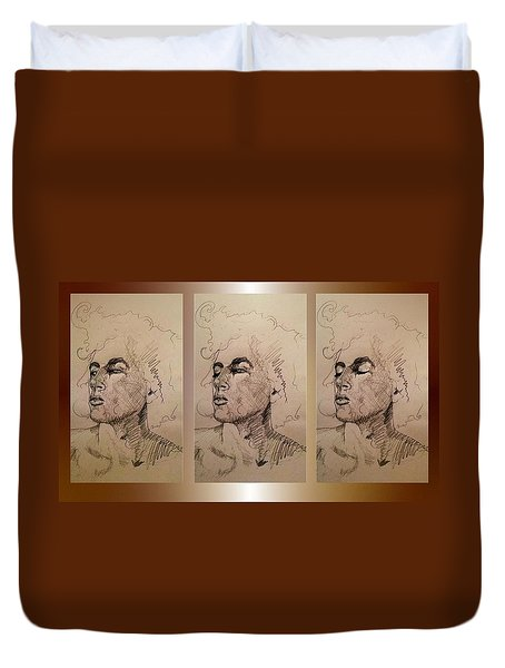 Duvet Cover featuring the drawing Selfportrait By Thomas  by Hartmut Jager