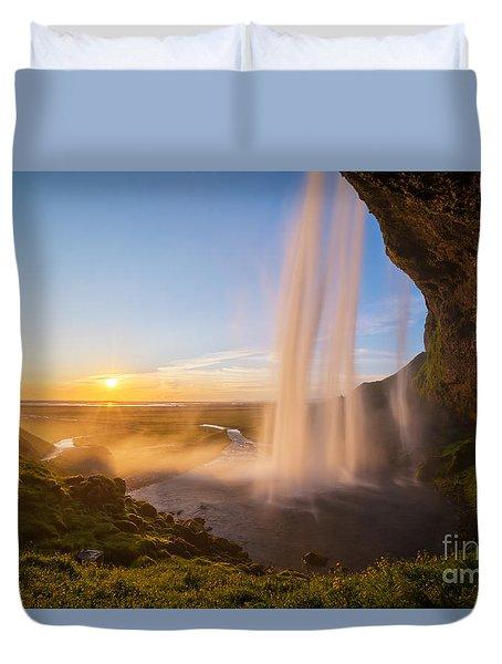 Seljalandsfoss Sunset Iceland Duvet Cover