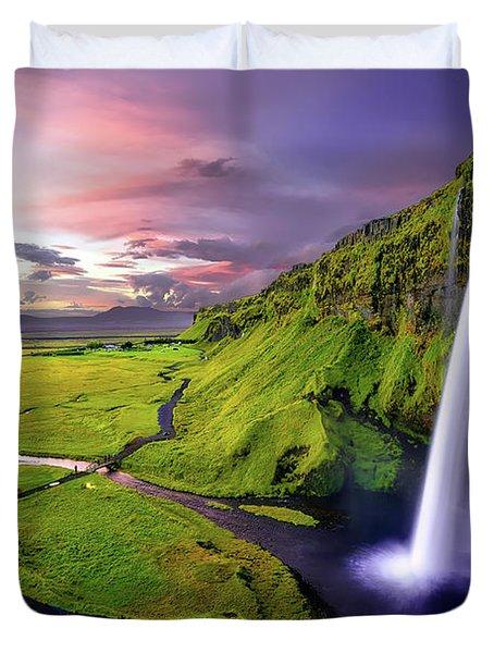 Seljalandsfoss Waterfall Duvet Cover