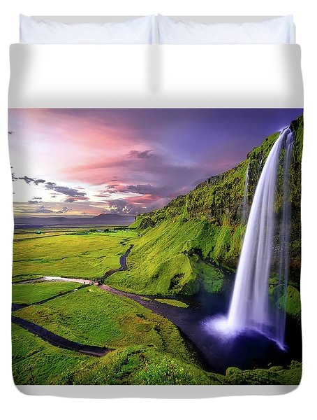 Seljalandsfoss Waterfall Duvet Cover