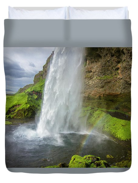 Seljalandsfoss With Rainbow, Iceland Duvet Cover