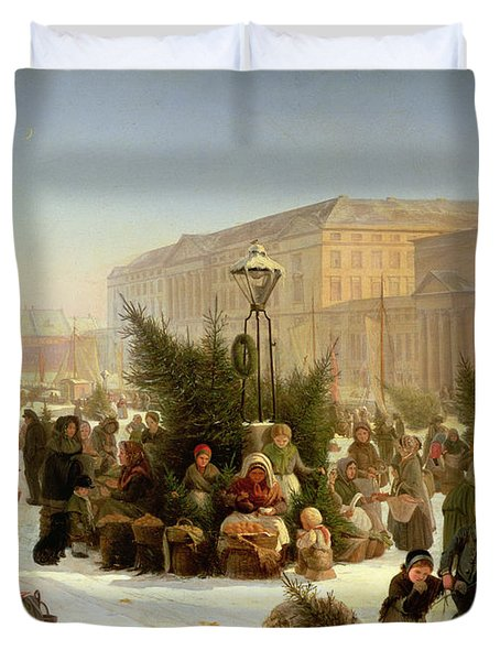 Selling Christmas Trees Duvet Cover by David Jacobsen