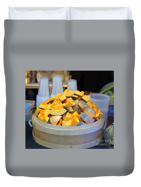 Duvet Cover featuring the photograph Selling Fresh Pumpkin Shakes by Yali Shi